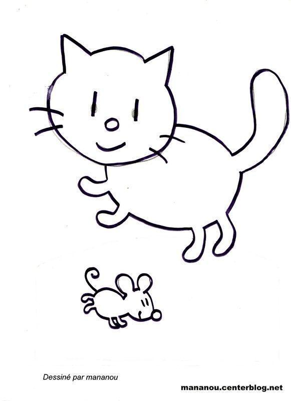 Coloriage chat et souris - Dessin sourie ...