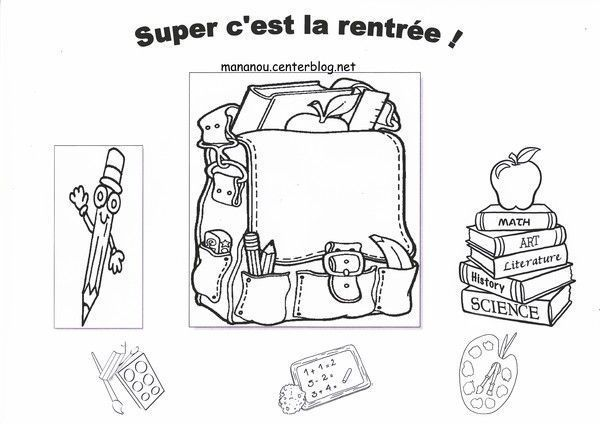 Coloriage rentree des classes - Coloriage cartable maternelle ...