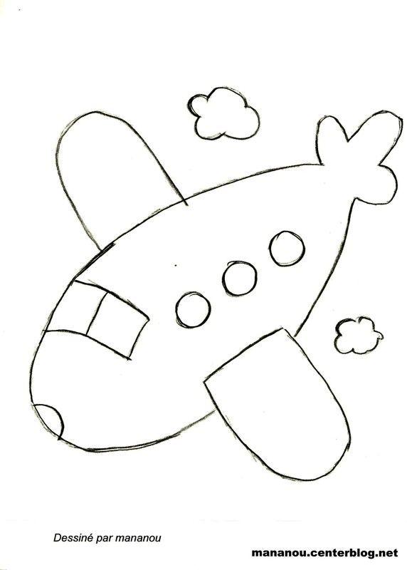 Coloriage avion - Dessin facile avion ...