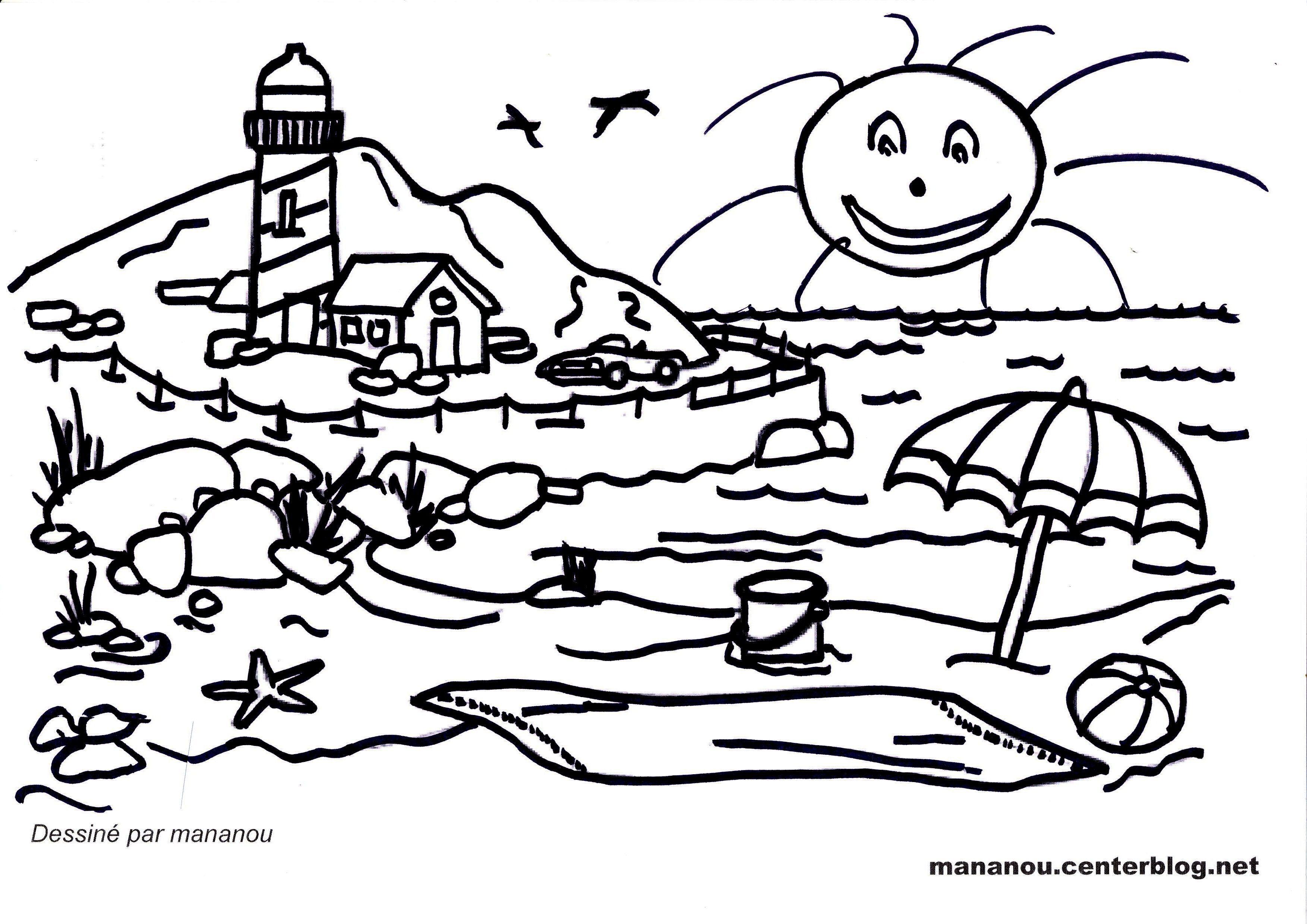 Coloriage sur la nature - Coloriage paysage mer ...