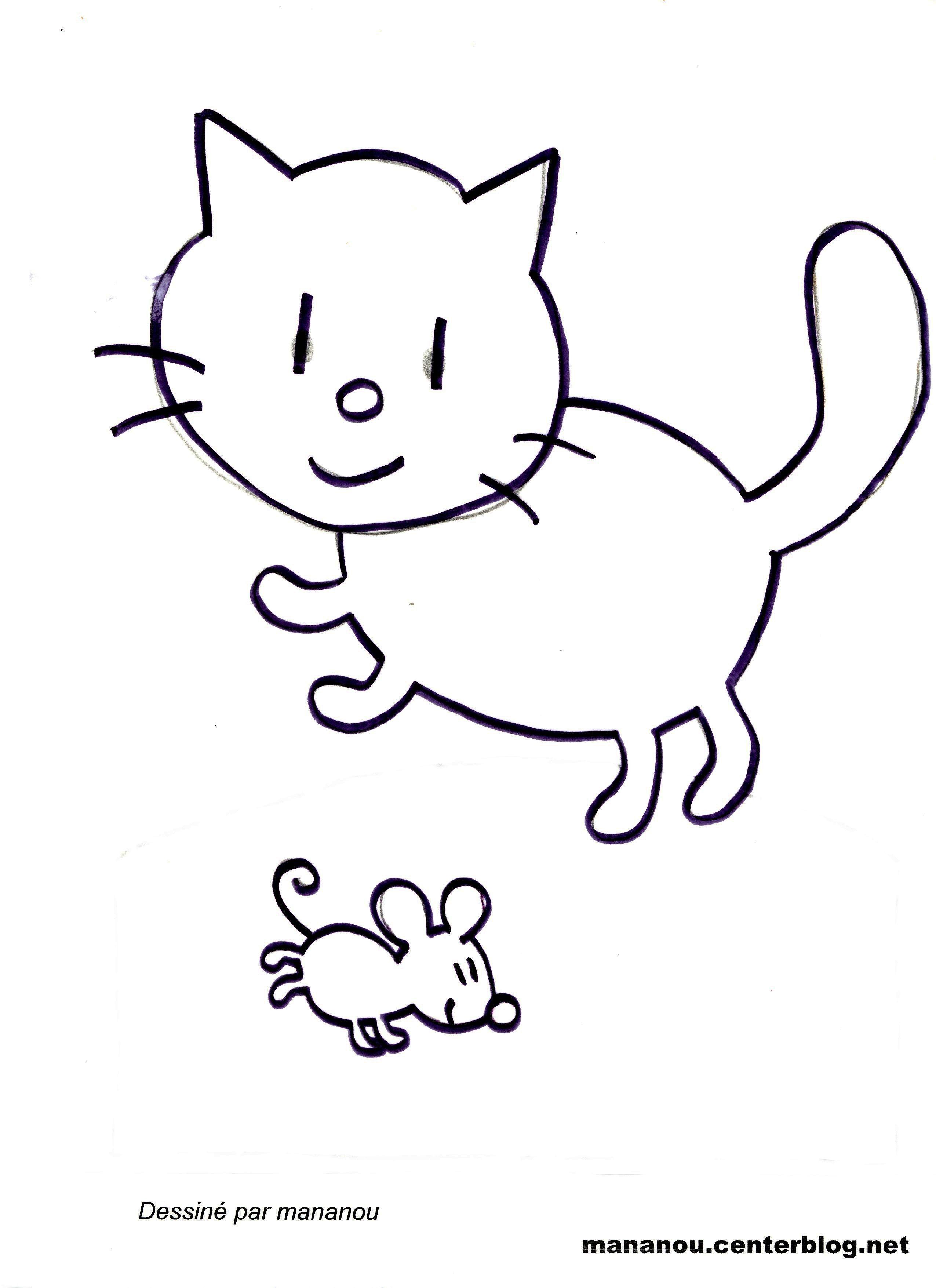 Coloriage chat et souris - Dessin d un rat ...