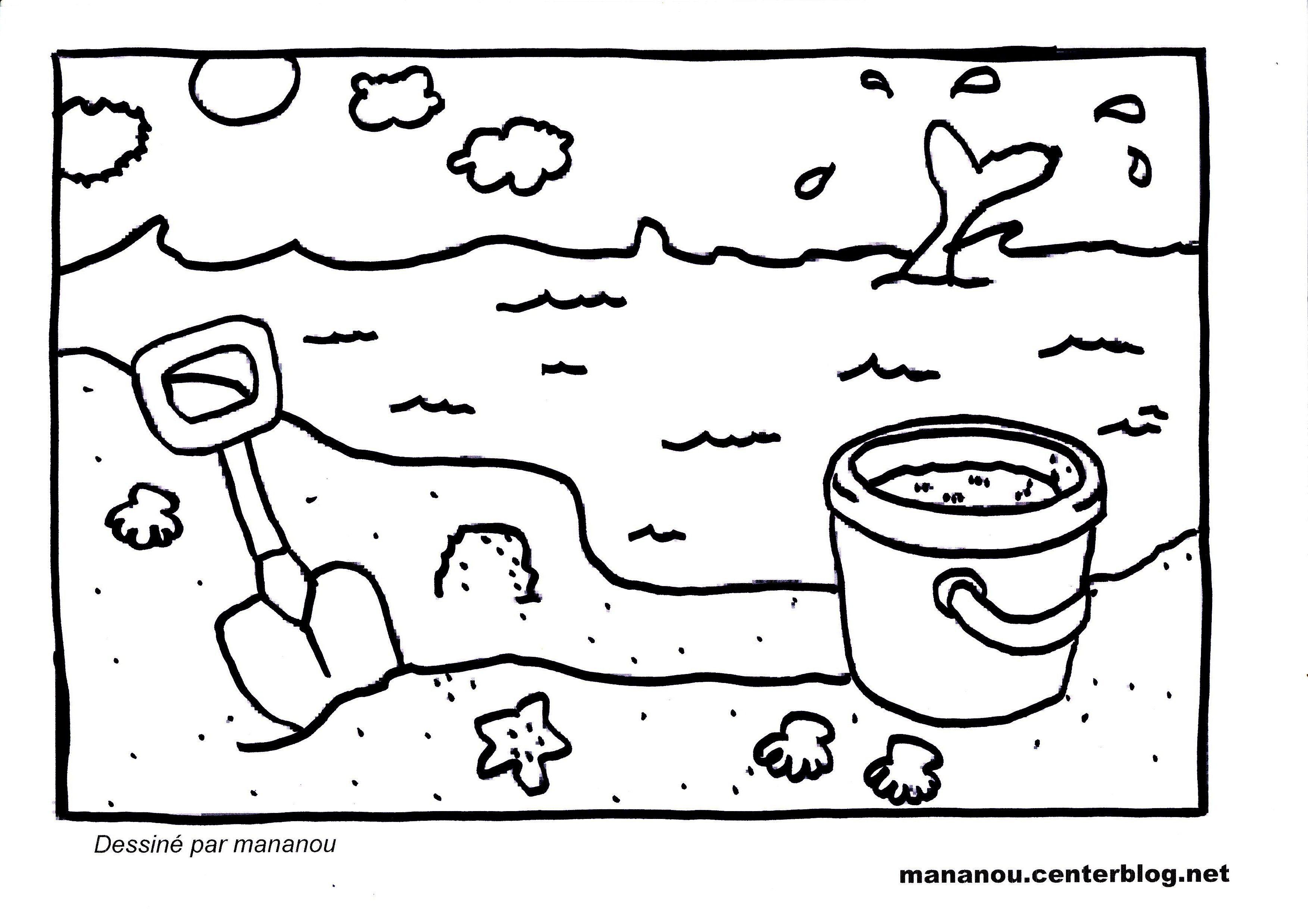 Coloriage sur la nature - Coloriage de plage ...
