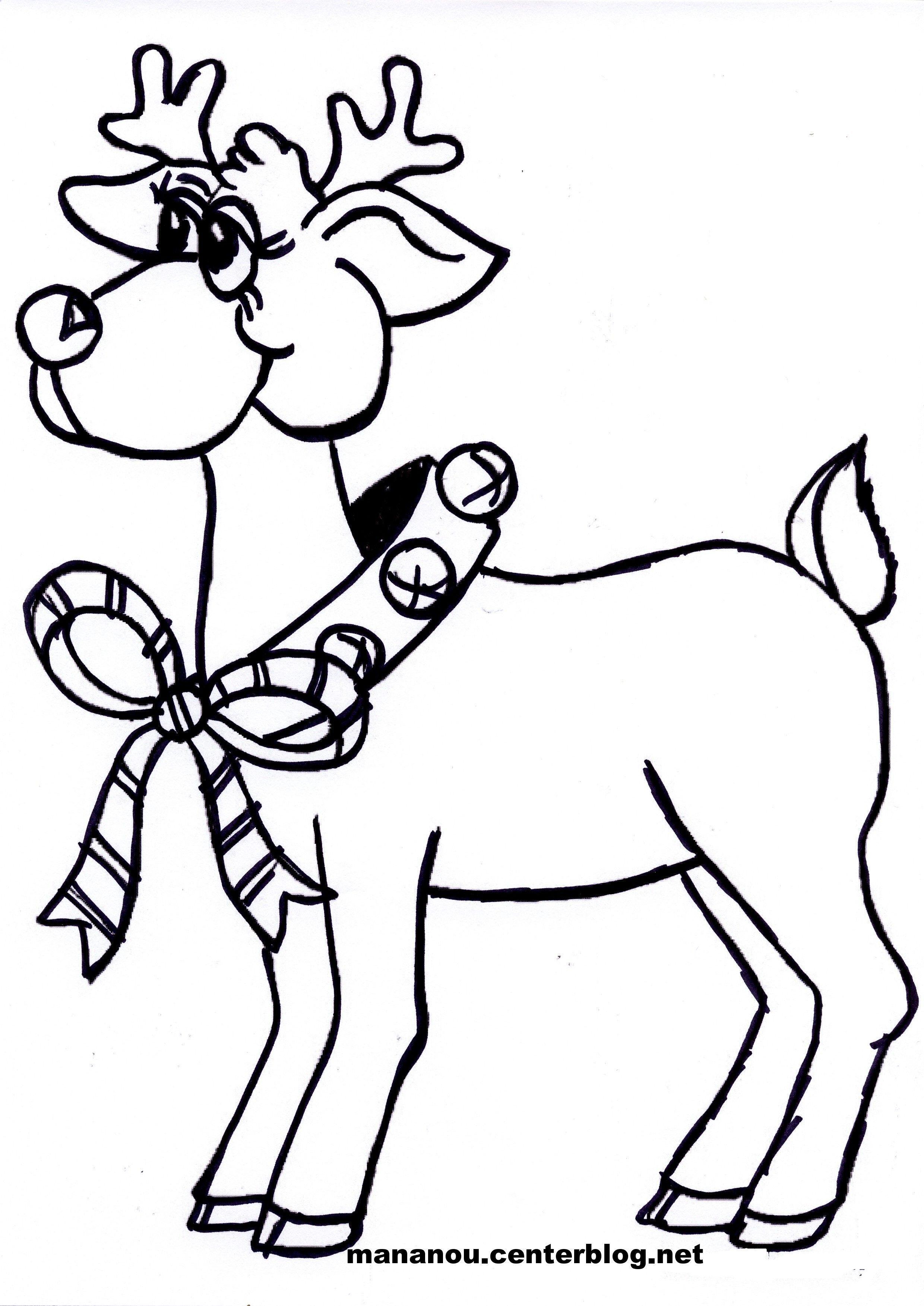 Coloriage de petit renne au nez rouge - Coloriage de renne ...